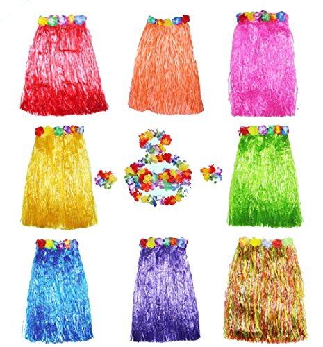 HLJgift Adult's Flowered Luau Hula Skirts with Costume Set Pack of 8,Assorted Colors]()
