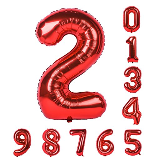 40 inch Birthday Party Balloon 0-9(Zero-Nine) Red Numbers Mylar Decorations of Arabic Numerals 2 -