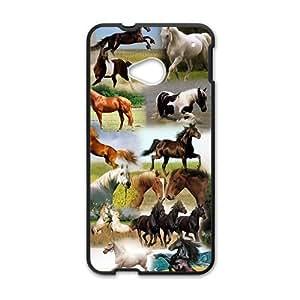 Various Kinds Horse Black HTC M7 case