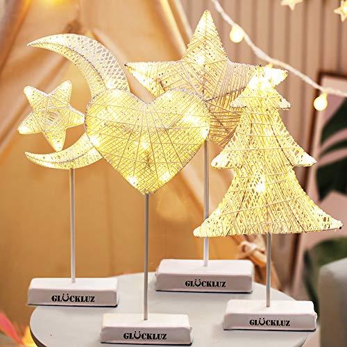 Glückluz Christmas Navidad Rota Estrellas Tejidas Luna LED luz de la Noche lámpara de Mesa decoración Adorno (Estrellas de...