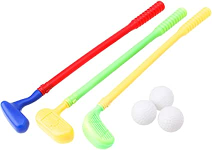 BKID 3PCs Mini Golf Clubs Golfer and Balls Toy Kids Golf Game Toy Outdoor Toy Miniature Golfing Set For Kids