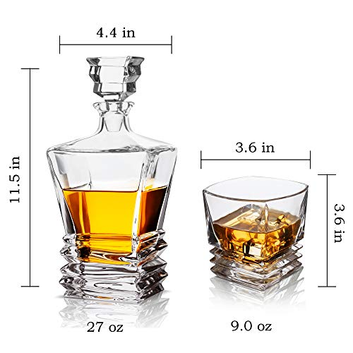 KANARS Crystal Whiskey Decanter And Glass Set With Luxury Gift Box - The Original Liquor Decanter Set For Scotch, Bourbon, Irish Whisky And Godmother Cocktail, 5-Piece by KANARS (Image #4)