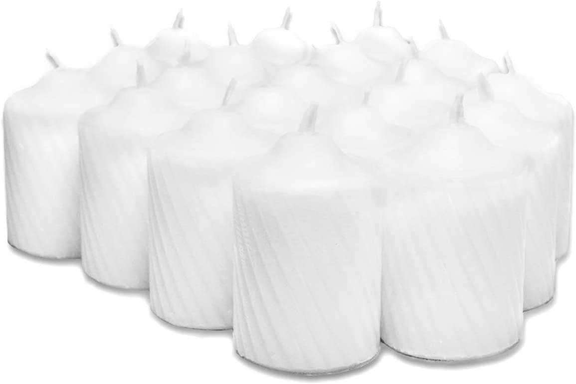 Box of 20 Textured Finish 15 Hour Long Burn Time General Wax White Fresh Linen Scented Votive Candles