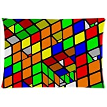 Pillowcase Pillow Cover Magic Cube,Rubik's cube,cube puzzle Zippered Pillow Protector 20x30 inch (one side)