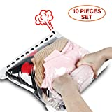 reusable vacuum storage bags - Space Saver Travel Bags, Hibag 8 Pack Reusable Travel Storage Bags (4 X Suitcase Size, 2 X Carry-on size, 2XPouch size) with 2 Free Roll Up Bags (Carry-on size) , No Vacuum or Pump Needed (8-Travel)