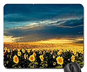 Sunflower Field Mouse Pad, Mousepad (Fields Mouse Pad, Watercolor style)