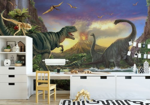 Jurassic dinosaurs wallpaper for boys bedroom removable fabric wall mural for kids self-adhesive wall decal sticker peel and (Dinosaur Wallpaper Mural)