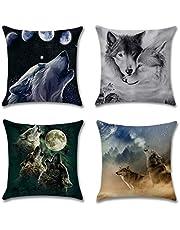 Artscope Set van 4 decoratieve kussenslopen 45 x 45 cm, polyester linnen kussenslopen decokussen kussensloop set kussen voor bank auto slaapkamer thuis decoratie (wolf)