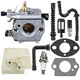 Mckin Carburetor with Gasket Fuel Line Oil Line Spark Plug Fuel Filter Oil Filter for Stihl 024 026 024AV 024S MS240 MS260 Walbro WT-194