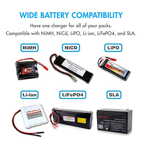 Tenergy TB6AC+80W Balance Charger Discharger, 1S-6S Intelligent Digital Battery Pack Charger for NiMH/NiCd/Li-Po/Li-Fe...