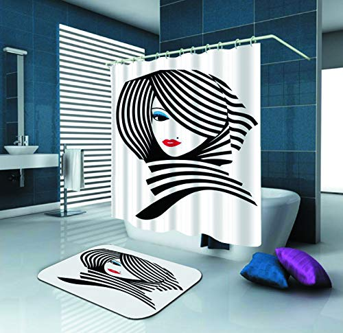 SARA NELL Shower Curtain,Sexy Women Lady Face Red Lips Black and White Stripe,72X72In Mildew Resistant Polyester Fabric Shower Curtain Set with 15.7X23.6In Flannel Non-Slip Floor Doormat Bath Rugs