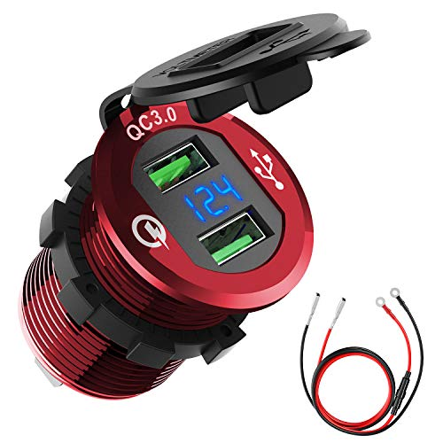 Quick Charge 3.0 Car Charger, CHGeek 12V/24V 36W Waterproof Dual QC3.0 USB Fast Charger Socket Power Outlet with LED Digital Voltmeter for Marine, Boat, Motorcycle, Truck, Golf Cart and More (Red)