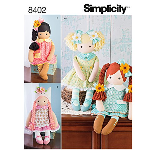 Simplicity Stuffed Doll with Clothes Art and Craft Sewing Template, One Size