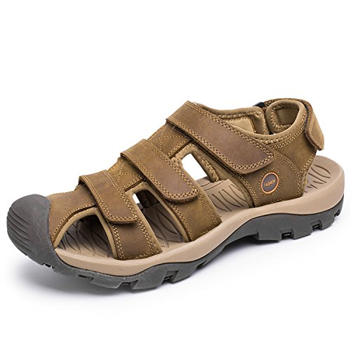 rocoke-mens-leather-beach-sandals-fisherman-breathable-athletic-sandals-85-light-brown