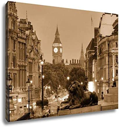 London Trafalgar Square Picture Print On Wooden Framed Canvas Wall Deco
