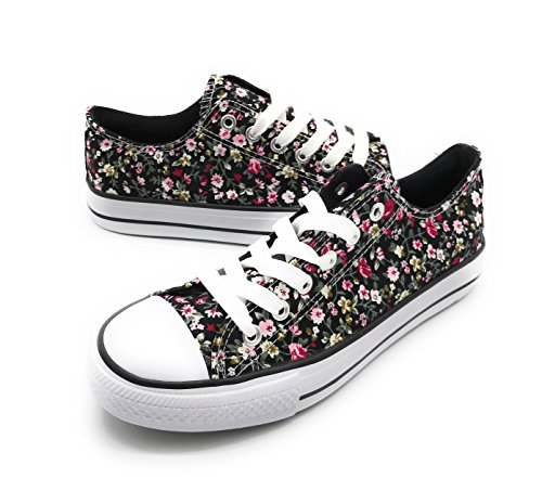 EASY21 Women Canvas Lace up Shoe Fashion Casual Comfort Sneakers,Black Flower,6.5
