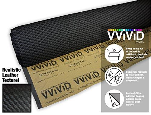 (VViViD Black Carbon Fiber Adhesive Weatherproof Faux Leather Marine Vinyl (1ft x 54