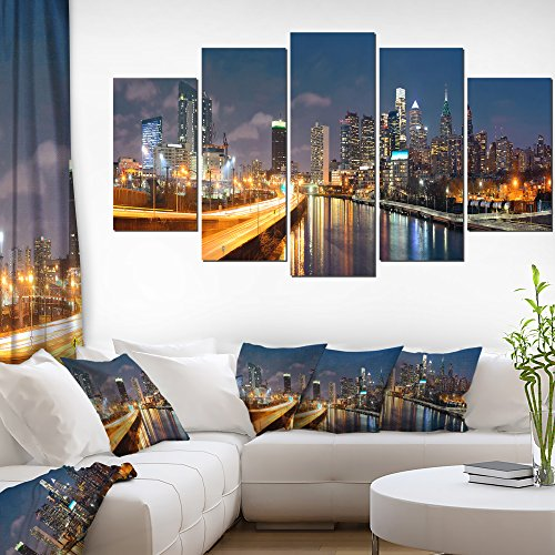 Designart PT10072-373 Philadelphia Skyline at Night - Cityscape Canvas print, 60'' x 32'' by Design Art