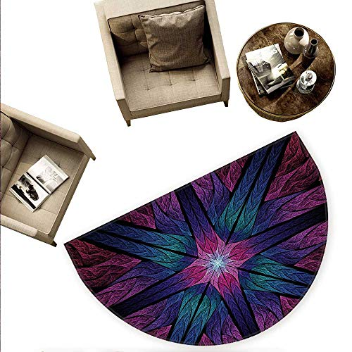 (Fractal Semicircle Doormat Psychedelic Colorful Sacred Symmetrical Stained Glass Figure Vibrant Artsy Design Halfmoon doormats H 74.8