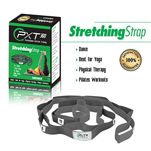 PXT360 Pilates Stretch Strap With 12 Loops -Increase Flexibility. Athletes, Trainers, Yoga, Dance, Pilates, Gymnastics. Exercise Equipment. Top Choice of Physical Therapists. Avoid Injuries by PXT360