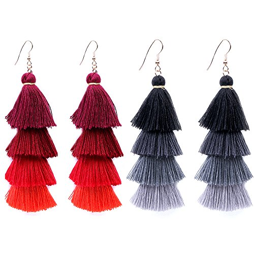 2 Tier Earring (4 Tier Tassel Earrings Thread Fringe Eardrop Tiered Dangle Earrings for Women Handmade Drop Earrings)