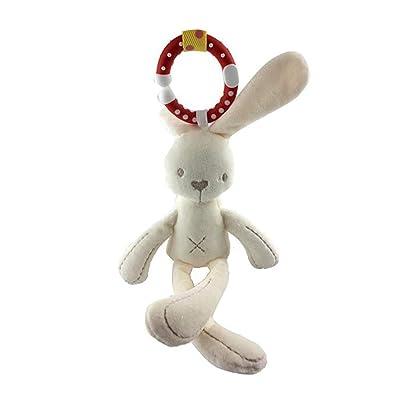 Peluche sonajero juguete colgado Niño Suave mimos conejito Peluche sonajero juguete, actividades de juego belén silla de paseo Musical conejos rellenado Niño regalo Niños Animales Muñeca (Conejo): Hogar