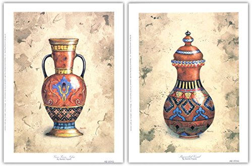 Vase from Afar & Bejeweled Vessel by Bambi Papais~Set of 2 UNFRAMED Art Prints (Vessel Bejeweled)
