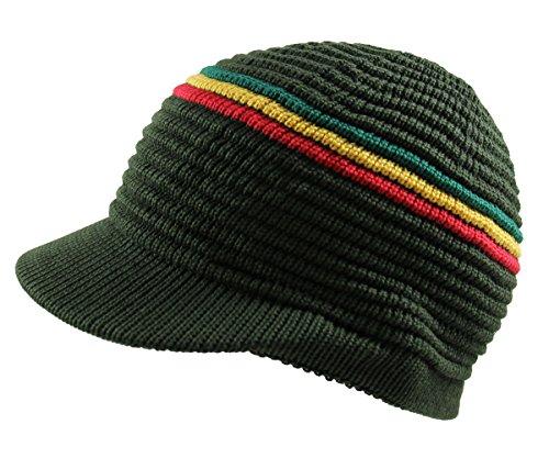 RW Knitted Cotton Rasta Skully Beanie Visor (Olive/RGY) (Visors Beanies Rgy Rasta)