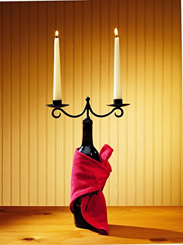 (Market Street Double Taper Candle Wine - Burgundy Bottle Topper Candle Holder)