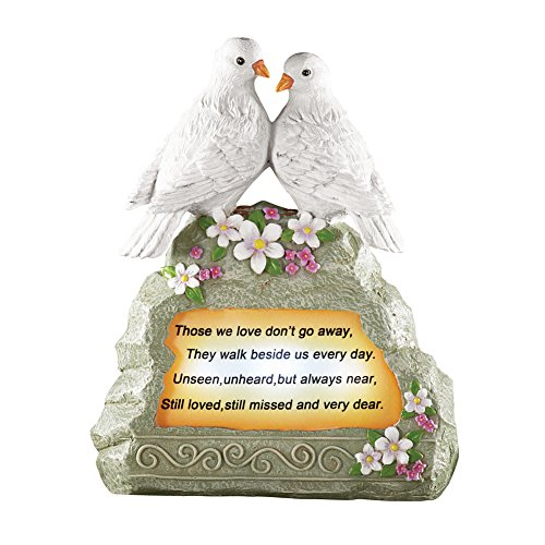 Collections Etc Solar Light-Up Doves Memorial Garden Stone - Inspirational Stone with Poem Lights Up at Night, Pet Memorial Stone Gift Idea