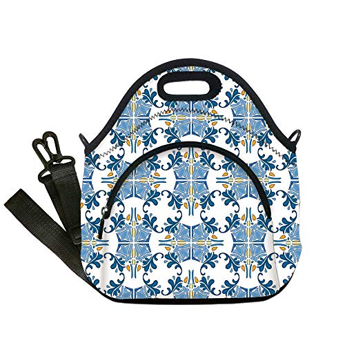 (Insulated Lunch Bag,Neoprene Lunch Tote Bags,Traditional House Decor,Roman Tile Mosaic Design with Famous Artful Eastern Inspired Image,Blue Yellow,for Adults and children)
