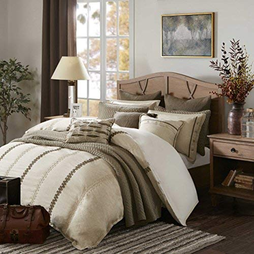 Madison Park Signature Chateau Queen Size Bed Comforter Duvet 2-In-1 Set Bed In A Bag - Taupe , Soutache Cord Embroidery - 8 Piece Bedding Sets - Faux Linen Bedroom Comforters ()