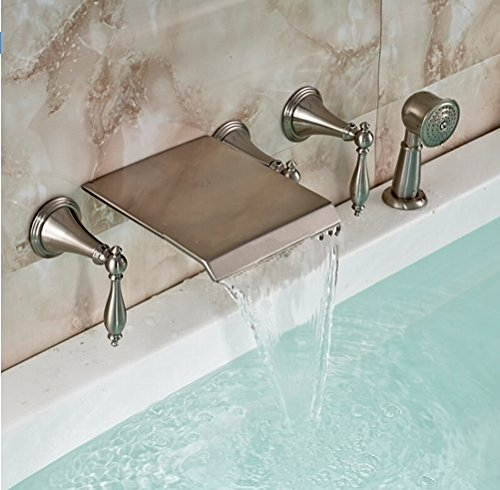 GOWE Luxury 5pcs Wall Mounted Waterfall Bathtub Bath Tub Mixer Faucet + Pull Out Hand Shower Brushed Nickel Finished by Gowe (Image #2)