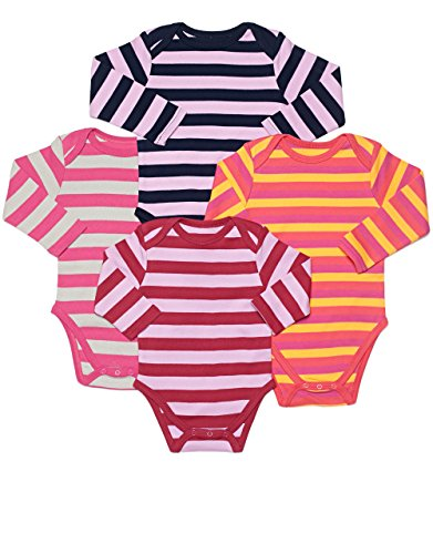 (Leveret 4 Pack Long Sleeve Bodysuit 100% Cotton Stripes 6-12 Months Multi 2)