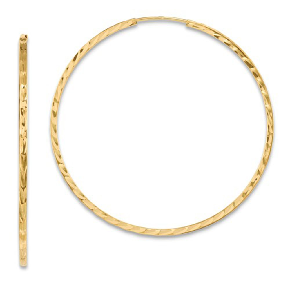 14K Yellow Gold Diamond Cut Square Tube Continuous Endless Hoop Earrings, (45mm) (1.35mm Tube)