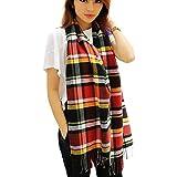 Joyci Fashion Winter Warm Wool Multicolored Plaids Scarf for Boys and Girls (Orange)