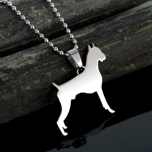 Stainless Steel Cropped Ear German Boxer Dog Silhouette Pet Dog Tag Breed Collar Charm Pendant Necklace ()