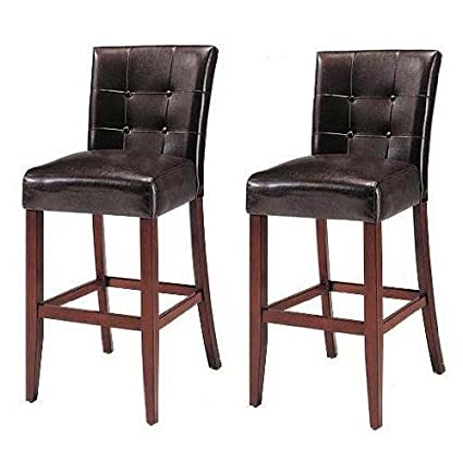 Beau Set Of 2 Counter Height 24u201d Parsons Chairs With Brown Finish Solid Wood Legs