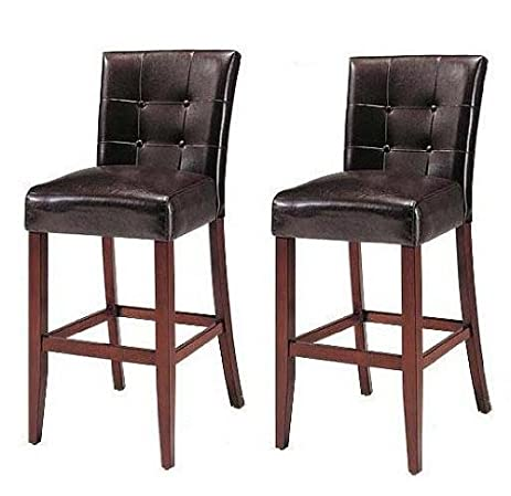 Good Set Of 2 Counter Height 24u201d Parsons Chairs With Brown Finish Solid Wood Legs
