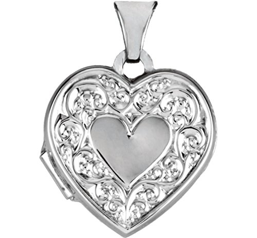 Sterling Silver Heart Scroll Design Heart Locket by The Men's Jewelry Store (for HER)