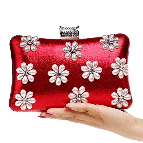 Mode Sacs Beaux Red Mesdames Dîners Wybxa Boîtes Soirée Pouches De Neige Flocons Banquets Nuit Embrayages q8R141wE
