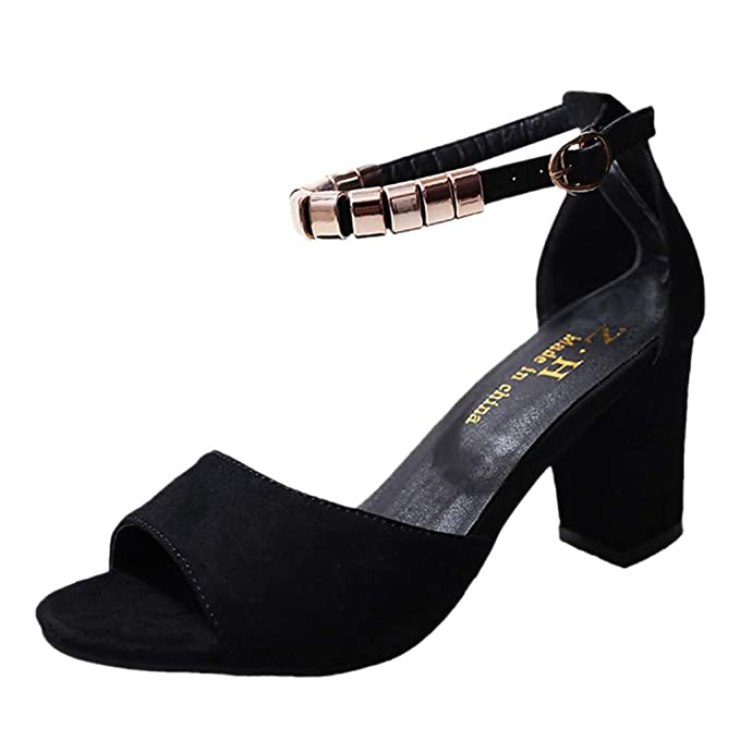 9ff137dae1 Women Ladies Chunky High Heel Sandals - Open Toe Ankle Buckle Strap Pumps  Dress Shoes (