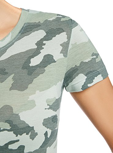 oodji Collection Mujer Camiseta Recta con Cuello Redondo Verde (6062O)