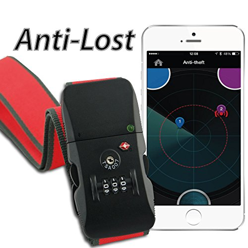 Embroidered Luggage Strap - WiTbelt K200 Sharp Red Bluetooth Smart enabled Travel Belt with Combination Lock TSA approved Anti-theft with Smartphone App