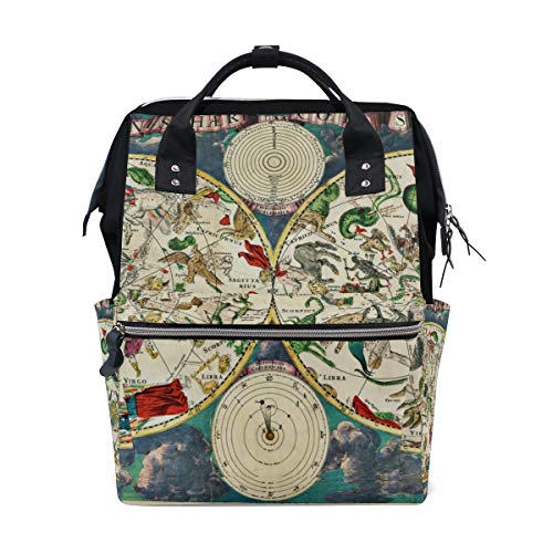 MONTOJ This 17Th Century Map of The Skies Bursting Wit Canvas Travel Bag Campus Backpack