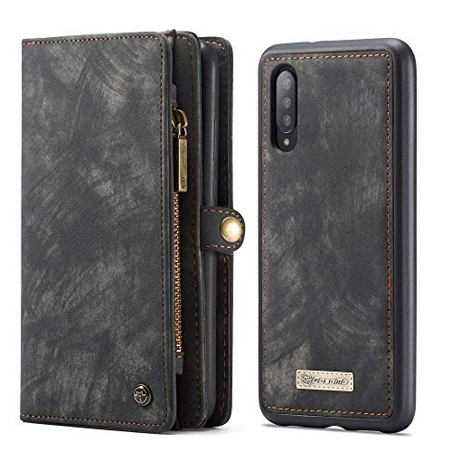 LAPOPNUT Luxury Leather Wallet Phone Case Premium Zipper Flip Wallet Case Cover with Detachable Magnetic Hard Case for Samsung Galaxy A40, Black