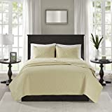 yellow quilt - Madison Park Quebec Full/Queen Size Quilt Bedding Set - Yellow, Damask – 3 Piece Bedding Quilt Coverlets – Ultra Soft Microfiber Bed Quilts Quilted Coverlet