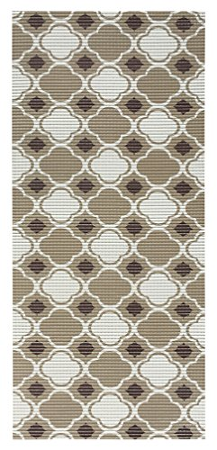 All Design Mats Cushioned Non-Slip/Rubber Moroccan Trellis Design Brown Color Aqua Runner/Doormat, Easy Cut to fit in Your Hallway, Bathroom, or Kitchen with Scissors AQ4003-01-2X10