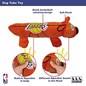 NBA LOS ANGELES LAKERS Soft Plush Tube Toy for DOGS & CATS with TWO inner SQUEAKERS
