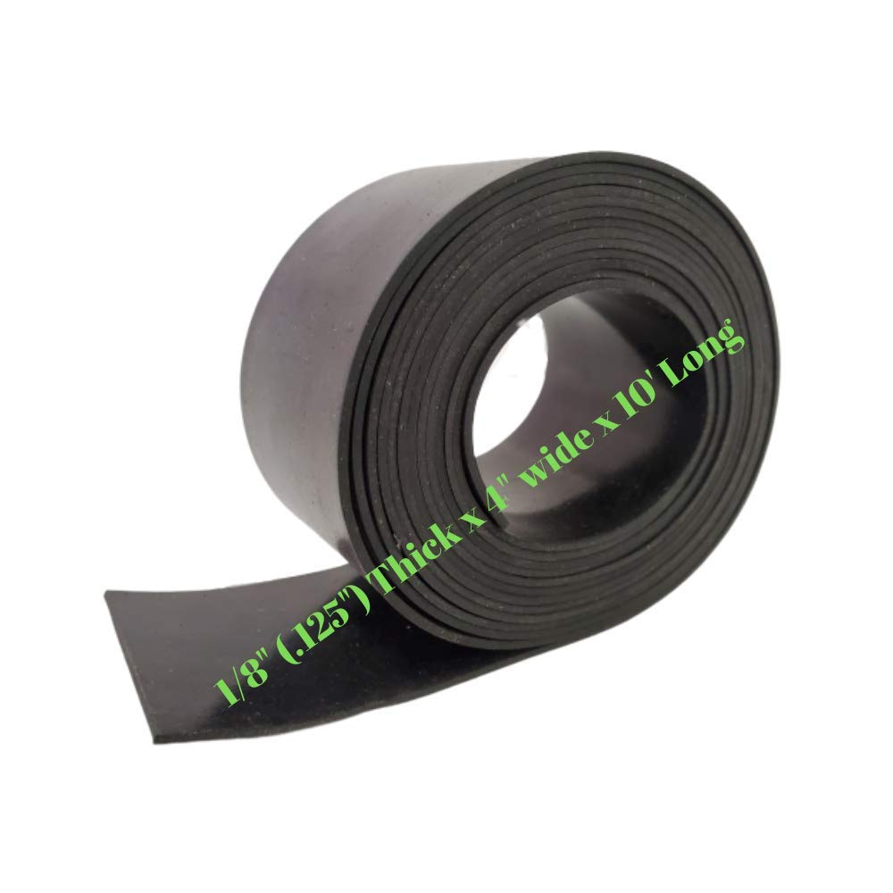 Rubber Sheet Warehouse .125'' (1/8'') Thick x 4'' Wide x 10' Feet -Neoprene Rubber Strip Commercial Grade 65A, Smooth Finish, Solid Rubber, Perfect for Weather Stripping, Gasket, Costume & DIY Projects by Rubber Sheet Warehouse